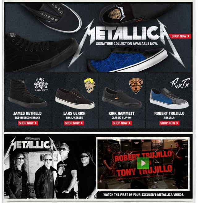 vans metallica shoes
