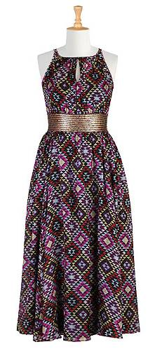 Ikat Silk Sequined Maxi