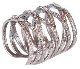 Silver Lattice Ring in White Diamonds